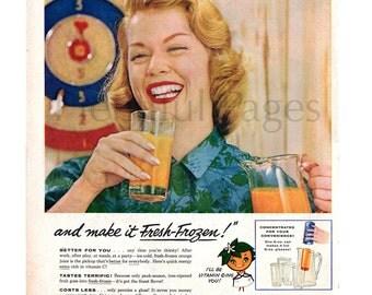 1956 Florida Orange Juice Vintage Ad, 1950's Housewife, 1950's Fashion, Retro Fashion, Advertising Art, Fresh Frozen, Great to Frame.