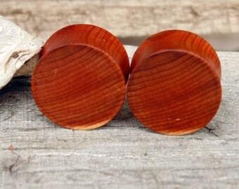 "19mm Rose Cedar ear plugs, hand turned organic 3/4"" gauge wooden flesh plugs, body jewelry"