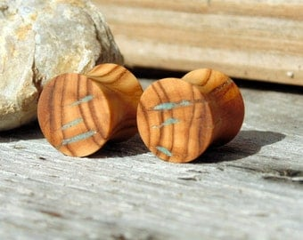 Half inch plugs,Turquoise inlay, Olive wood ear plugs, pair of gauges, hand turned