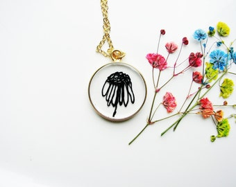 Art Pendant Neckace, Flower Necklace, Doodle Necklace, Illustrated Art Jewelry, Resin Necklace, Botanical Jewelry