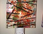 "Night light Abstract Fused Art Glass ""Little Light"" Night Light"