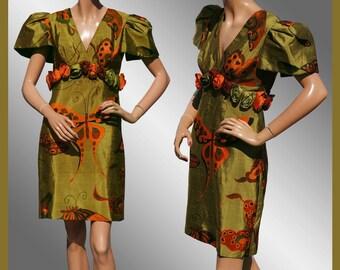 Vintage 1980s Butterfly Pint Silk Dress - S