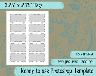 "Rectangular Tags - Digital Layered Collage Sheet Template:  3.25"" x 2.75"""