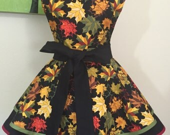 Glory of Autumn Two Tiered, Twirly Woman's Full Apron