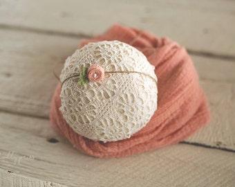 Newborn Headband Wrap Set - Newborn Tieback - Newborn Photo Prop - Baby Flower Headband - Baby Wrap