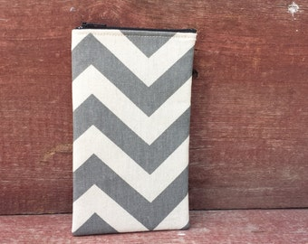 Eyeglasses Zipper Pouch Gray Chevron Handmade in Iowa