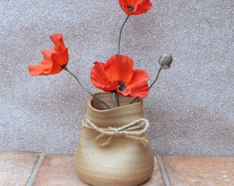 Crumpled bag vase pot hand thrown stoneware pottery paper