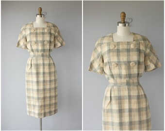 Vintage 1950s Dress | Vintage 50s Dress | 1950s Linen Dress | 50s Day Dress | 1950s Sheath Dress