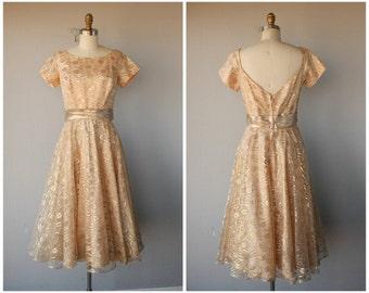 Vintage 1950s Dress   50s Lace Dress   1950s Lace Party Dress   50s Formal Dress   1950s Pastel Party Dress