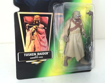 Vintage Star Wars Figure Tusken Raider with Gaderffii Stick - Star Wars Action Figure from the 1990s Kenner Toy Line - Star Wars A New Hope