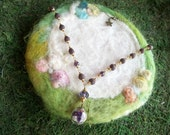 Rose Petal Bead Necklace with Glass Orb and Wild Flowers