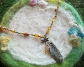 Dragonfly Wing Necklace with Beautiful Beads, Long Beaded Dragonfly Spirit Necklace