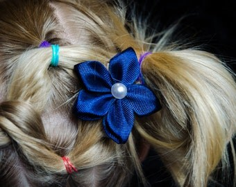 Hair Bow - Navy Grosgrain 5 Petal Hair Flower
