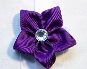 Hair Bow - Royal Purple Grosgrain 5 Petal Hair Flower