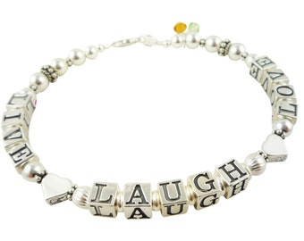 Live, Laugh, Love Mother Birthstone Bracelet - Grandma-  sterling silver and love heart - custom designed for her