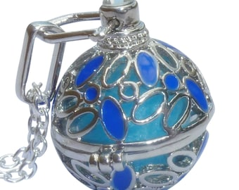 YOur perSOnal STYlish Essential oil necklace diffuser Steampunk Blue shiny flowers  d1 0