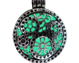 yOUR unIQue SilVER  POCket watch grears Aqua glow in the dark necklace