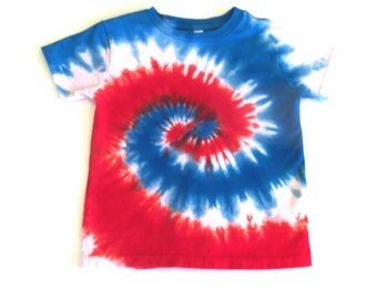 Toddler Tie-dye T-shirt, Size 5T, red, white and blue