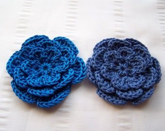 Flower crochet motif 2.5 inch cotton blue