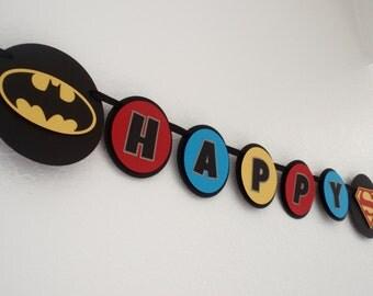 Superhero Birthday Banner, Superhero Birthday Party, Batman, Superman, Spiderman, Captain America
