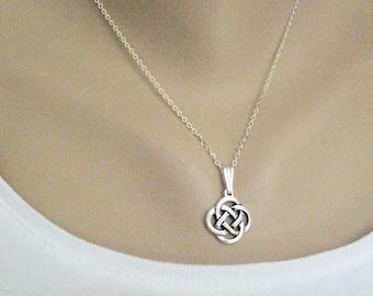 Celtic Knot Necklace Silver, Eternity Knot, Silver Symbolic Jewelry, Love Knot, Everyday