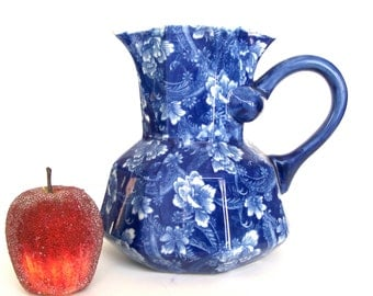 Chinoiserie Pitcher, Floral Motif, Porcelain Blue and White Pitcher, Chinoiserie, Victoria Ware Iron Stone Pitcher