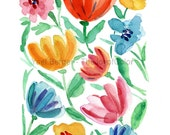Abstract floral art print/ Floral watercolor print/ home decor/ colorful flowers art/ modern floral art print/ mothers day/ thejoyofcolor