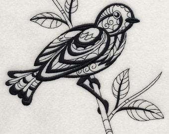 BIRD FANTASY (BLACKWORK) - Machine Embroidered Quilt Blocks(AzEB)