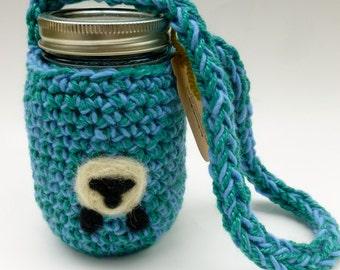 Pint size wool mason jar cozy blue with sheep