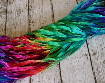 Hand Dyed ribbon NeW OVER THE RAINBOW glitters, 5 yards