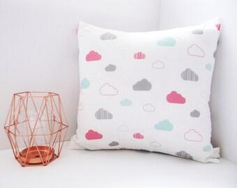 Cute Cloud Print Cushion - White Pink Mint Grey Clouds Print Pillow - Cloud Cushion Handmade Decor