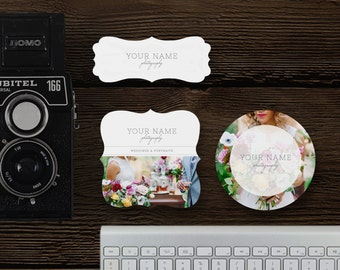 INSTANT DOWNLOAD! Sticker Templates for Photographers - Label Designs -  Premade Digital Photoshop Files - Design By Bittersweet