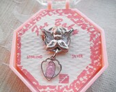Vintage STERLING Pink Enamel Virgin Mary Miraculous Medal Angel BABY Pin with Case