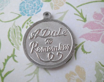 Vintage Sterling A Date to Remember Anniversary Birthday Wedding Disk Charm BLANK