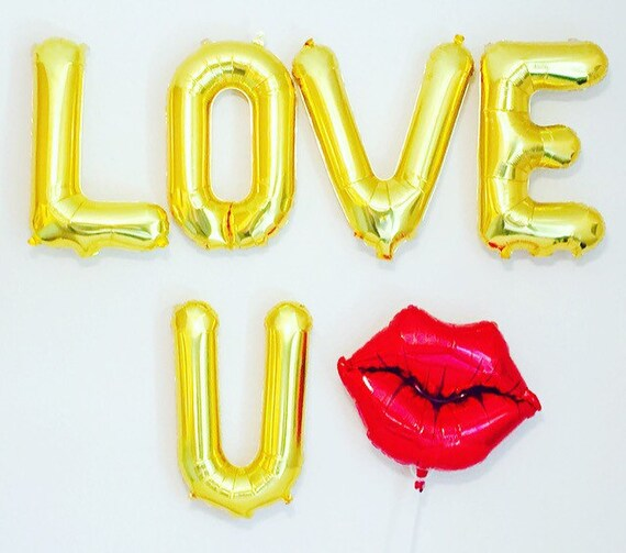 Love u gold balloon lettersily giftsred lip theme by for I love you letter balloons