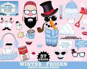 Winter Frozen Photo Booth Props - Frozen Party, Christmas Party, Hot Chocolate- Instant Download PDF with 37 DIY Printable Props