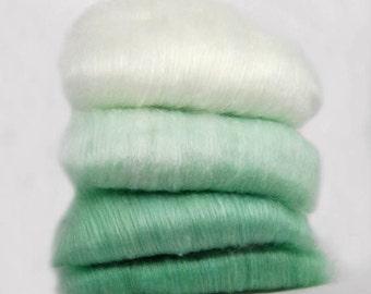 Merino Silk 50/50 Jade Green Ombre Spinning Batts - 4 ounces
