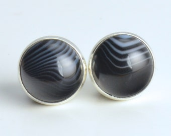 small sterling silver 8mm black lace agate earrings