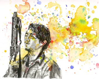 Walking Dead Glenn Poster Print From Original Watercolor Painting - 8 X 10 in. Print The Walking Dead Poster Print