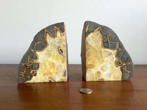 Septarian dragon stone geode bookends polished geode book - Geode bookends ...