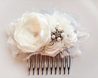 Vintage ivory flower comb with jewels