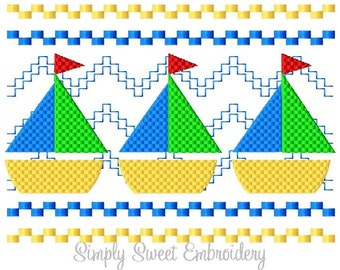 Sailboat Faux Smocking Machine Embroidery Design