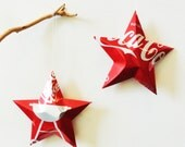 Coke Summer Barbeque Grill, Ornamental Stars, Summer 2009, Christmas Ornaments  Soda Can Upcycled Coca Cola, Red Silver White