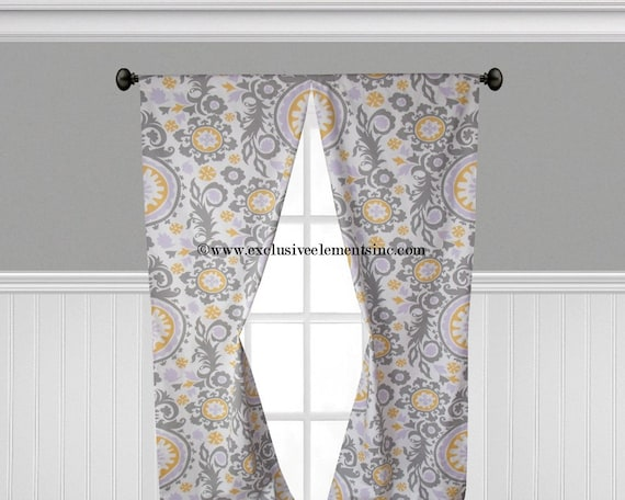 Lavender Gray Yellow Curtain Panels Floral Damask Curtains Drapery