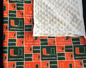 University of Miami Baby - Minky Dot Baby Blanket