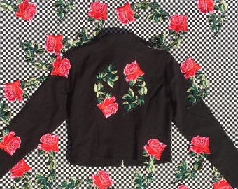 Rose Jacket / 90s Dickies Jacket / Black Mechanic Jacket / Patch Black Jacket Size XS S