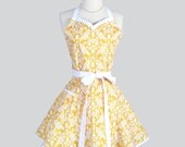 Sweetheart Retro Womans Apron , Cute Kitchen Cooking Apron in Flirty Vintage Yellow and White Damask Handmade Full Sexy Womens Apron