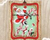 3 Red Aqua Santa Candy Cane Tags / Music Notes / Retro Vintage Christmas / Lg Favor Bag Gift Tags Label / Ornament / 3 DayShip (ref-ts)