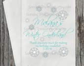 12 Pak  Winter Onderland Birthday  Favor Bag / Winter First Birthday / Snowflakes / Candy Popcorn Goody Treat Favor Bag / 3 Day ship
