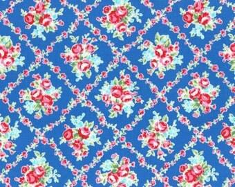 Flower Sugar 2015 Fall Collection Cotton Fabric Lecien 31269-77 Dark Blue Floral Bouquet In Floral Vine Diamonds